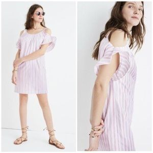 NEW Madewell Striped Cold Shoulder Dress